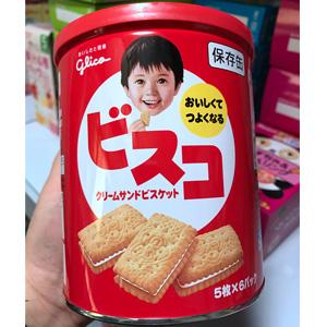 Glico格力高 小麦胚芽纤维乳酸菌夹心饼干 高钙牛奶味 30枚*5盒