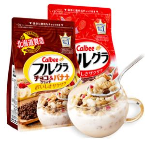 Calbee卡乐比麦片 经典水果味800g+巧克力曲奇味700g