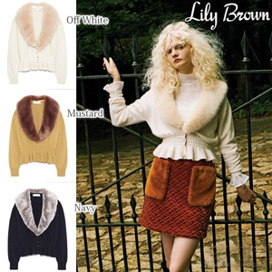 5折+额外8折!Lily Brown 带毛领针织开衫 三色可选