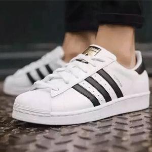 adidas阿迪达斯superstar贝壳小白鞋 大童款黑白金标