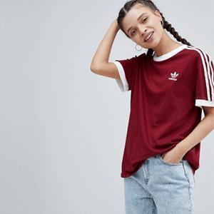 adidas阿迪达斯女士三道杠T恤