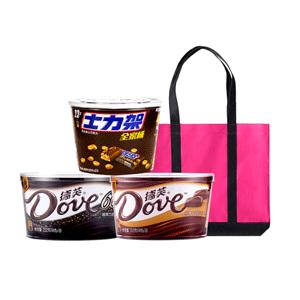 德芙巧克力混合3口味桶装928g(德芙黑巧252g+士力架460g+脆香米216g)