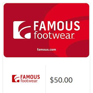 美亚有Famous Footwear网站礼品卡满$50-10