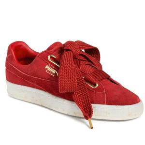 Puma Suede Heart Sneaker 女款红色麂皮运动鞋