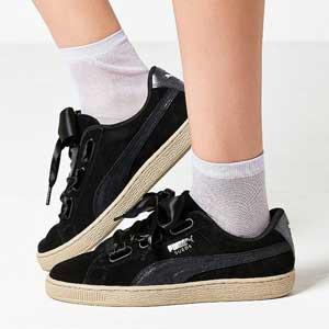 Puma Suede Heart Sneaker 女款黑色麂皮运动鞋