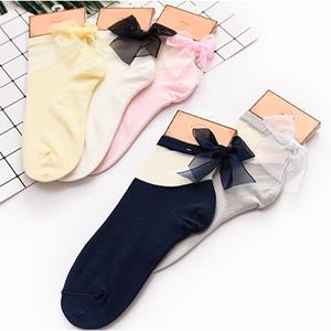 阪织屋 女士水晶蝴蝶结短筒丝袜 6双