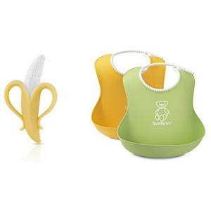 BABYBJORN 婴幼儿防漏食物围嘴2只装 + Nuby努比香蕉牙胶