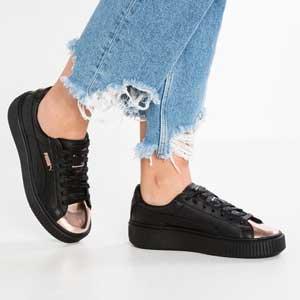 PUMA彪马 Basket Platform Metallic 女款休闲运动鞋