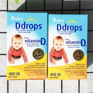 补货!Ddrops 婴儿维生素d3滴剂 90滴*4瓶