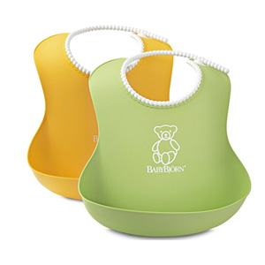 BABYBJORN 婴儿 软胶防碎屑 围嘴 2只装(黄色+绿色)
