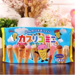 Glico格力高 固力果 迷你冰淇淋蛋卷蛋糕  三种口味 10本