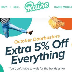 Raise现有全场礼品卡额外95折促销