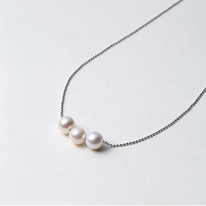 Maria Akoya 海水珍珠 7mm S925银 三颗珠项链