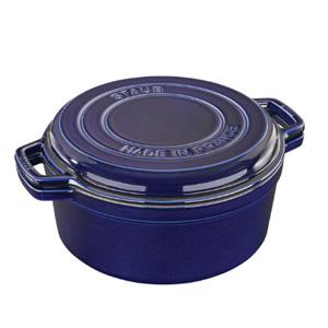 Staub 7夸脱珐琅铸铁锅+平底铸铁锅 深蓝色