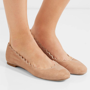 Chloé Lauren 扇贝边天鹅绒芭蕾平底鞋