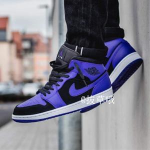 降价!AIR JORDAN 1 MID AJ1小黑紫 大童款篮球鞋