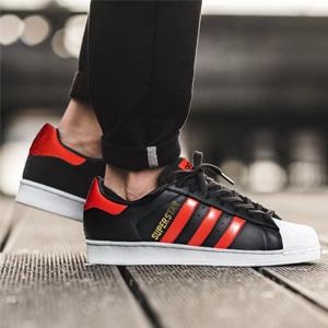 Adidas 三叶草经典贝壳头 红黑配色款B41994