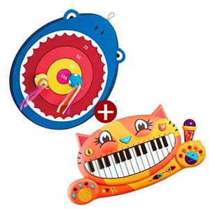 B.toys比乐大嘴鲨鱼搭扣飞靶+大嘴猫琴音乐玩具组合 2岁+