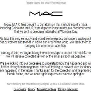 "MAC官方针对三八节邮件?#23567;?#19968;个中国问题""道歉"