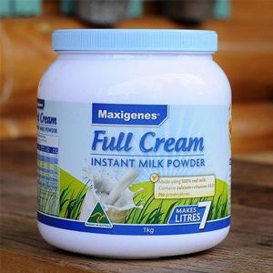 补货!Maxigenes美可卓(蓝胖子)全脂高钙成人奶粉 1kg/瓶