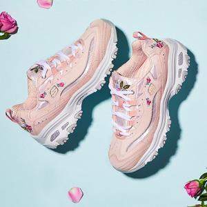 新低价!Skechers D'LITES女款玫瑰刺绣老爹鞋