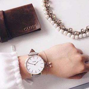 cluse LA bohème 玫瑰金女士石英手表 灰色