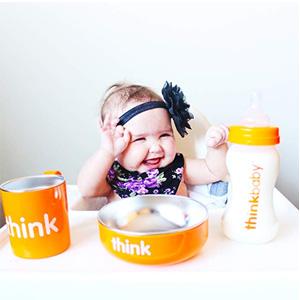 ThinkBaby辛克宝贝 不锈钢儿童餐具4件套 橙色款