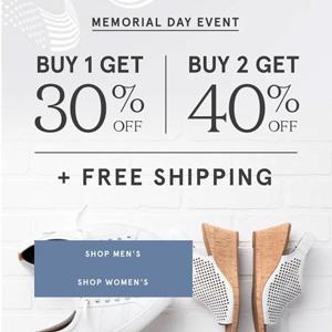 Rockport网站Memorial Day促销一件享七折,买两件享六折