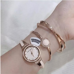 Anne Klein安妮·克莱恩 AK/3292BKST 施华洛世奇水晶 女士手镯手表套装