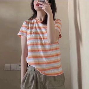 降价!Madewell 小雏菊橘白条纹女士T恤