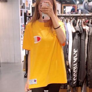 Champion 刺绣大C圆领logo短袖男士T恤  黄色