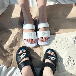 Nike耐克 纯黑纯白双绑带拖鞋 两色可选