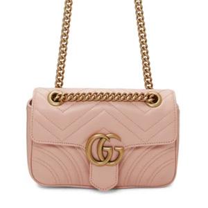 Gucci古驰双GG Marmont粉色链条包
