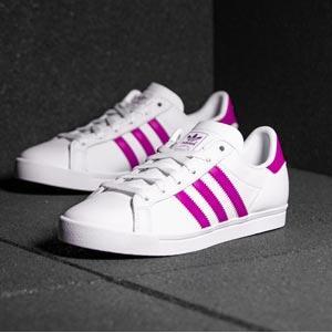 新低!Adidas阿迪达斯COAST STAR大童款粉色板鞋