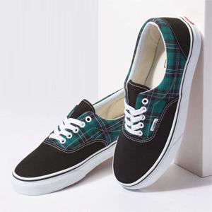 黄金码有货!Vans 范斯 黑绿格纹拼色低帮鞋