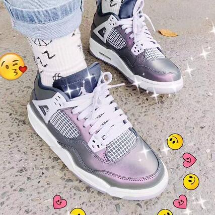 35码有货!Air Jordan 乔丹Jordan AJ 4变色龙中童运动鞋