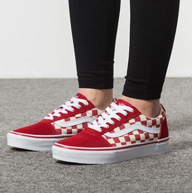 Vans范斯ward lo大童款红白格子休闲帆布鞋