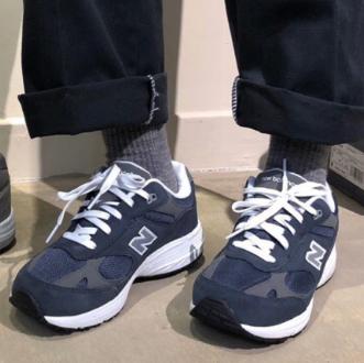 New Balance新百伦993大童款总统慢跑鞋 深蓝色