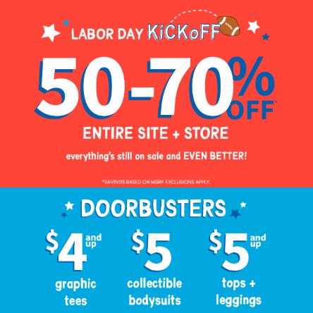 Carters卡特Labor Day劳工节全场儿童服饰3折+满$150立减$40促销