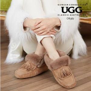 OZWEAR UGG 流苏圆头防水羊皮毛一体加绒保暖雪地靴