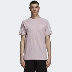 女士可穿!adidas阿迪达斯3-Stripes男款烟粉色T恤