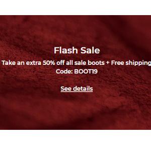 升级!Ecco美国站现有精选鞋靴额外5折促销