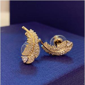 Swarovski施华洛世奇 金色羽毛耳钉 5505623