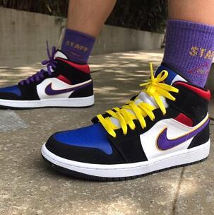 3码有货!Air Jordan 1 Mid 中童款篮球鞋 红蓝配色
