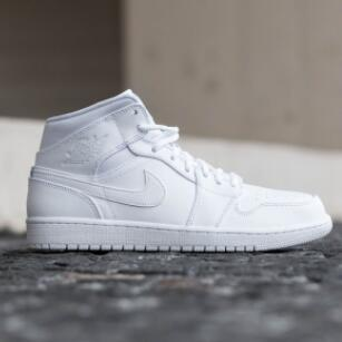 Air Jordan 1 Mid 女款运动鞋  纯白色