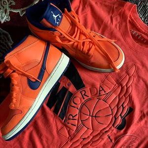 Nike JORDAN AIR JORDAN 1 MID蓝橙女款运动鞋