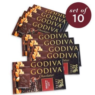 Godiva 歌帝梵 72%黑巧克力杏仁排块100g 10件套