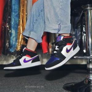 35码现货!Air Jordan 乔丹 AJ1湖人红蓝中童篮球鞋