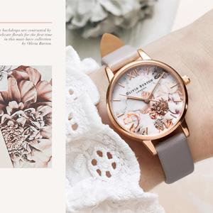 Olivia Burton大理石纹理玫瑰金女士手表