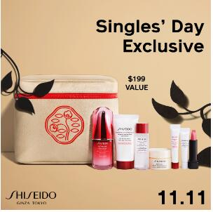 Shiseido资生堂官网满$50即可加$70换购圣诞礼包